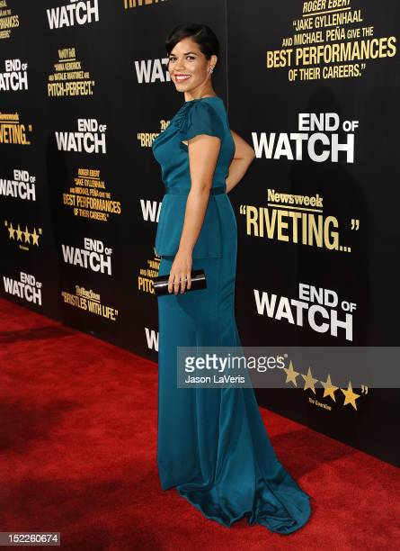 Actress America Ferrera attends the premiere of 'End of Watch' at Regal Cinemas LA Live on September 17 2012 in Los Angeles California