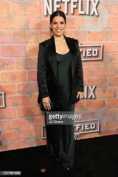 Actress America Ferrera attends the premiere of Netflix's Gentefied at Plaza de la Raza on February 20 2020 in Los Angeles California