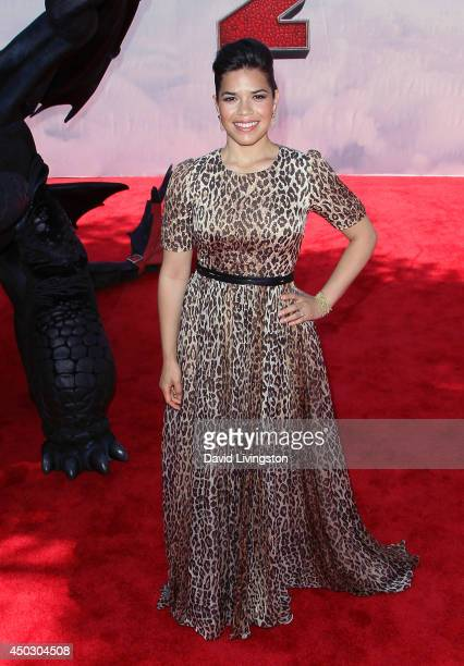 Actress America Ferrera attends the premiere of Twentieth Century Fox and DreamWorks Animation 'How to Train Your Dragon 2' at the Regency Village...