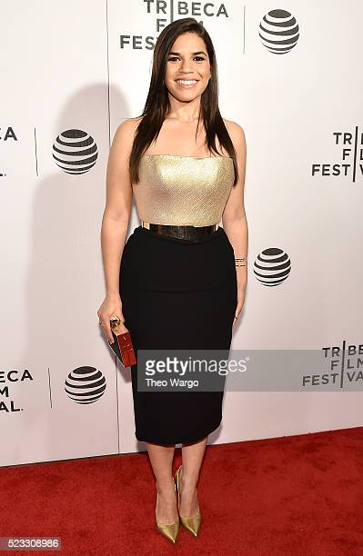 Actress America Ferrera attends the premiere 'Special Correspondents' during the 2016 Tribeca Film Festival at BMCC John Zuccotti Theater on April 22...
