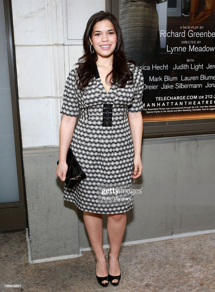 Actress America Ferrera attends the 'The Assembled Parties' opening night at Samuel J. Friedman Theatre on April 17, 2013 in New York City.