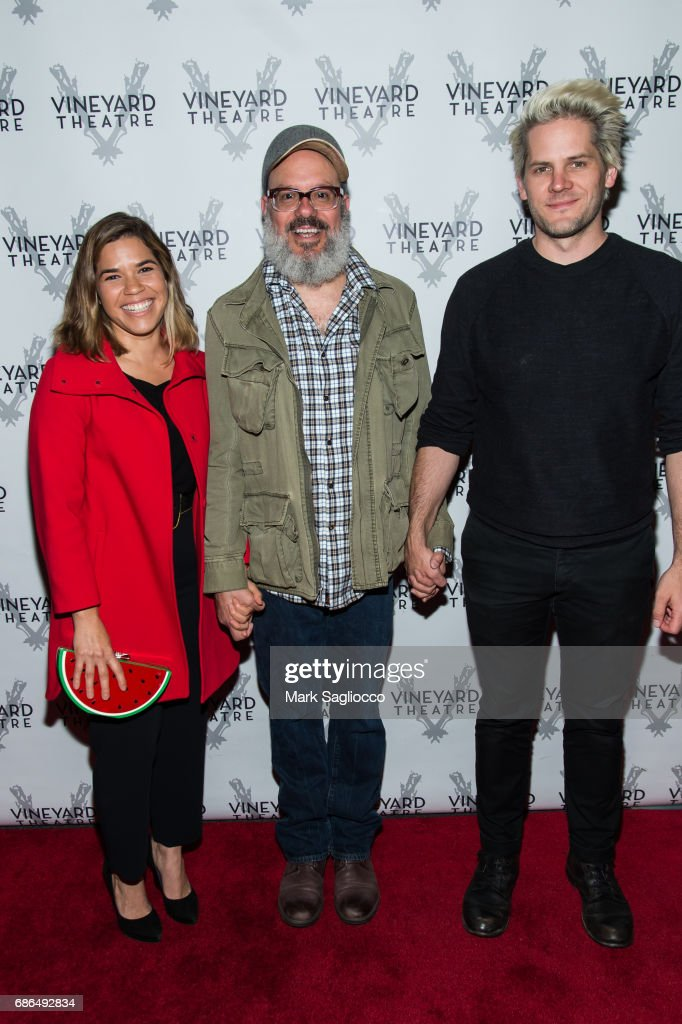 Actress America Ferrera, David Cross and Ryan Piers Williams attend the 'Can You Forgive Her?' Opening Night at the Vineyard Theatre on May 21, 2017 in New York City.