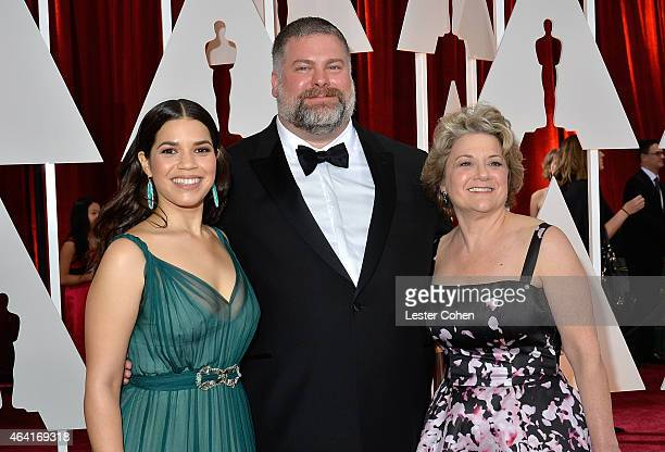 Actress America Ferrera director Dean DeBlois and producer Bonnie Arnold attend the 87th Annual Academy Awards at Hollywood Highland Center on...