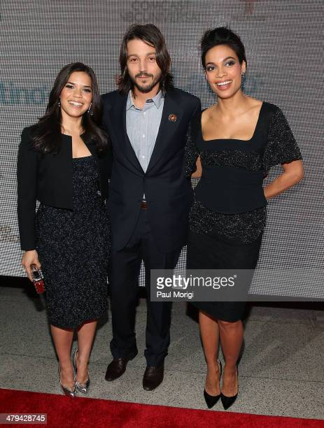 """Actress America Ferrera , Director Diego Luna and Actress/Chairwoman and Co-Founder, Voto Latino, Rosario Dawson attend the """"Cesar Chavez"""" premiere..."""