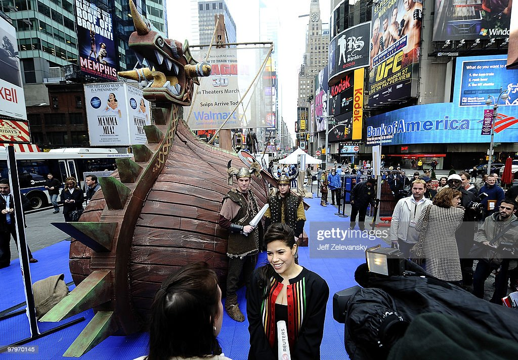 How to train your dragon event10 pictures actress america ferrera is interviewed in front of walmarts 40 foot viking ship modeled after ccuart Images