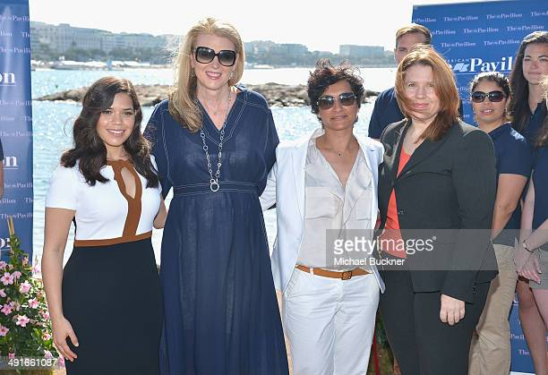 Actress America Ferrera Lisa Gregg VP International Consumer Products and experiences American Express Myriam Arab and Ann Marie Chiappetta Consul...
