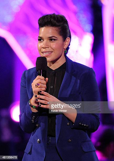 Actress America Ferrera onstage during Nickelodeon's 27th Annual Kids' Choice Awards held at USC Galen Center on March 29 2014 in Los Angeles...
