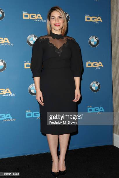 Actress America Ferrera poses in the press room during the 69th Annual Directors Guild of America Awards at The Beverly Hilton Hotel on February 4...