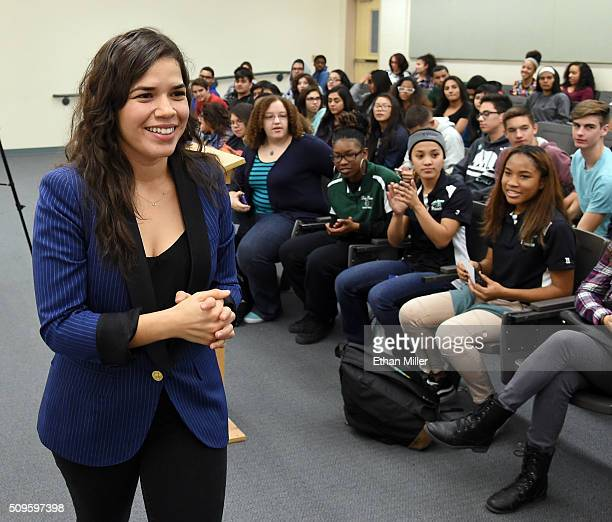 Actress America Ferrera talks to students at Rancho High School as she partners with Voto Latino to discuss the importance of young voters including...