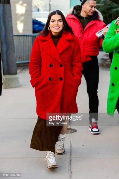 Actress America Ferrera walks on Main Street on January 25, 2020 in Park City, Utah.