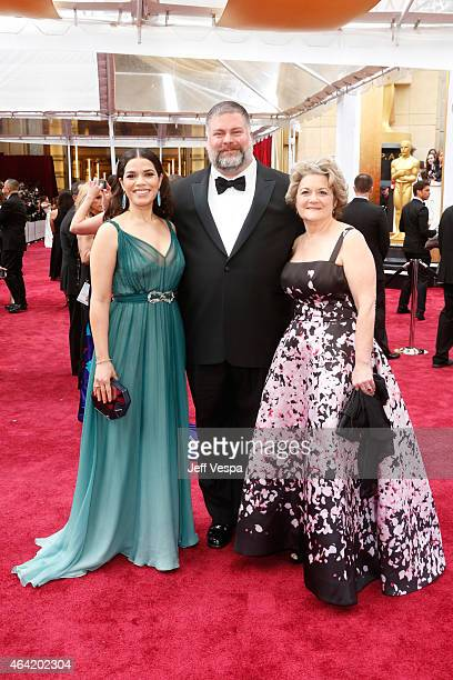 Actress America Ferrera writer Dean DeBlois and producer Bonnie Arnold attend the 87th Annual Academy Awards at Hollywood Highland Center on February...