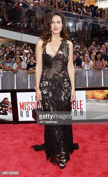 Actress America Olivo attends the 'Mission Impossible Rogue Nation' New York premiere at Times Square on July 27 2015 in New York City