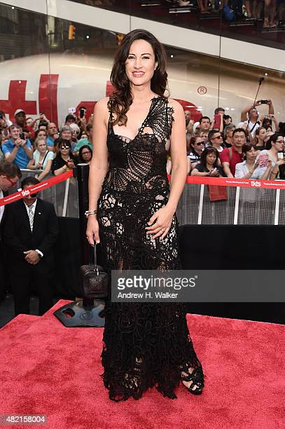 Actress America Olivo attends the New York premiere of 'Mission Impossible Rogue Nation' at Duffy Square in Times Square on July 27 2015 in New York...