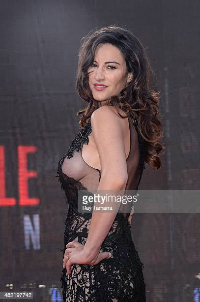 Actress America Olivo enters the 'Mision ImpossibleRogue Nation' Premiere in Time Square on July 27 2015 in New York City