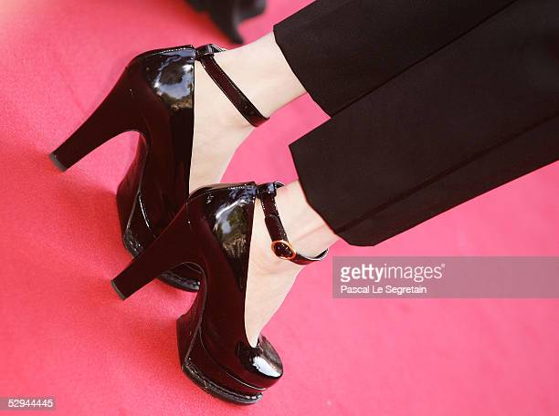 Actress Amira Casar shoes are seen as she attends the screening of Peindre Ou Faire L'Amour at the Palais during the 58th International Cannes Film...