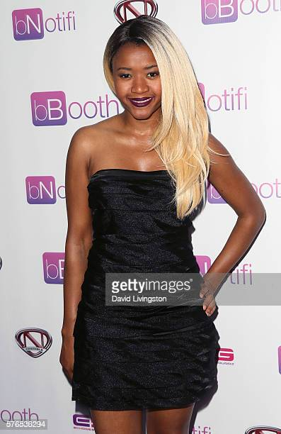 Actress Amira Lumbly attends a press conference and reception celebrating Nick Cannon as bBooth Global Brand Ambassador at the Sunset Marquis Hotel...