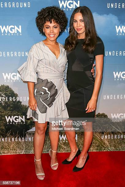 Actress Amirah Vann and actress Jurnee SmollettBell attends the screening and panel for WGN America's Underground at the Landmark Theatre on June 07...