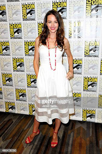 "Actress Amy Acker attends the ""Person of Interest"" Press Room during Comic-Con International 2015 at Hilton Bayfront on July 11, 2015 in San Diego,..."