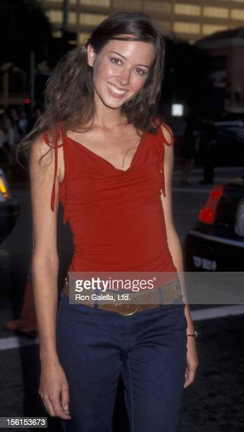 Actress Amy Acker attends the world premiere of 'American Pie 2' on August 2 2001 at Mann National Theater in Westwood California