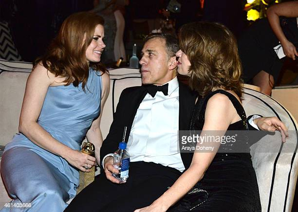 Actress Amy Adams actor Christophe Waltz and Judith Holste attend The Weinstein Company Netflix's 2015 Golden Globes After Party presented by FIJI...