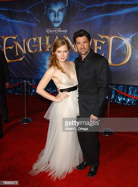 """Actress Amy Adams and actor Patrick Dempsey arrives at the World Premiere of Walt Disney Pictures' """"Enchanted"""" held at the El Capitan Theater on..."""
