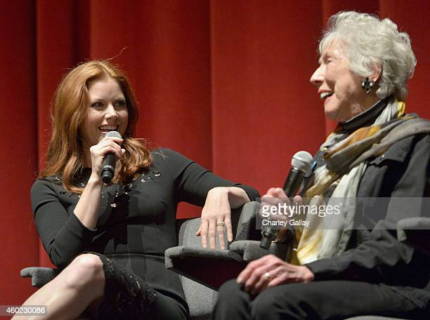 Actress Amy Adams and artist Margaret Keane speak onstage during The Weinstein Company's Big Eyes Los Angeles special screening in partnership with...
