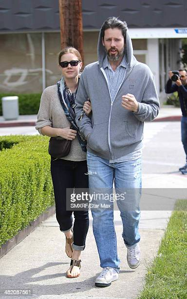 Actress Amy Adams and Darren Le Gallo are seen on April 2 2014 in Los Angeles California