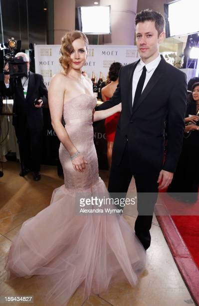 Actress Amy Adams and Darren Le Gallo arrive at the 70th Annual Golden Globe Awards held at The Beverly Hilton Hotel on January 13 2013 in Beverly...
