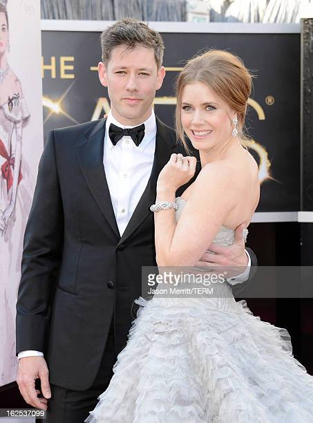 Actress Amy Adams and Darren Le Gallo arrive at the Oscars at Hollywood Highland Center on February 24 2013 in Hollywood California