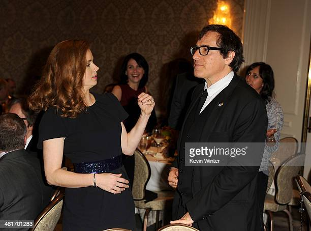 Actress Amy Adams and David O Russell attend the 14th annual AFI Awards Luncheon at the Four Seasons Hotel Beverly Hills on January 10 2014 in...