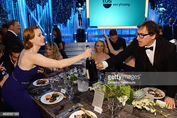Actress Amy Adams and director David O Russell attend the 20th Annual Screen Actors Guild Awards at The Shrine Auditorium on January 18 2014 in Los...