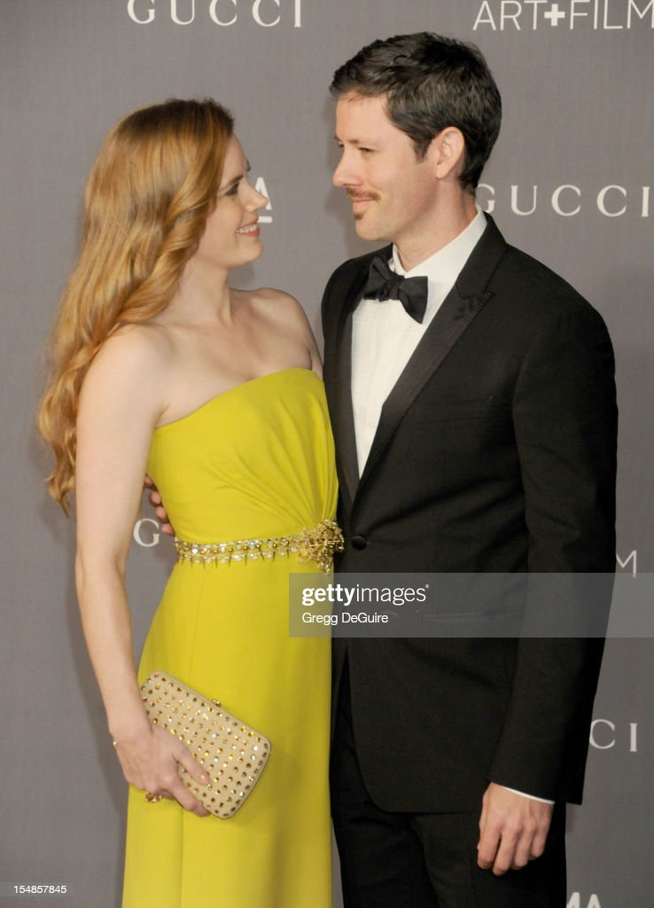 Actress Amy Adams and husband Darren Le Gallo arrive at LACMA Art + Gala at LACMA on October 27, 2012 in Los Angeles, California.