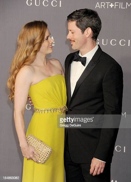 Actress Amy Adams and husband Darren Le Gallo arrive at LACMA Art Gala at LACMA on October 27 2012 in Los Angeles California