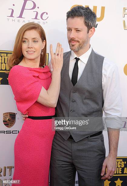 Actress Amy Adams and husband Darren Le Gallo arrive at the 19th Annual Critics' Choice Movie Awards at Barker Hangar on January 16 2014 in Santa...