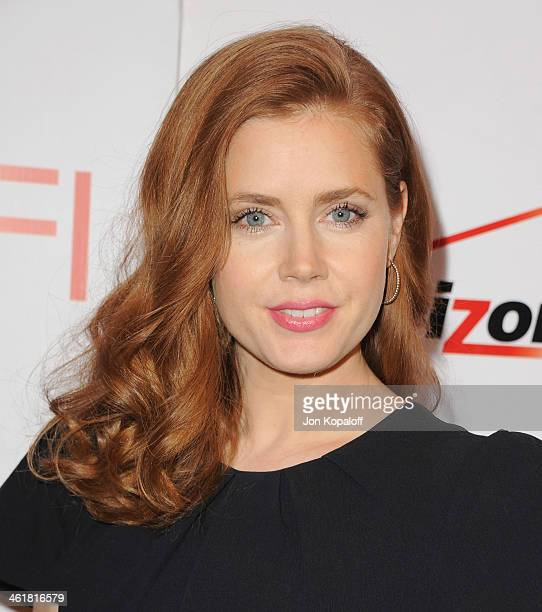 Actress Amy Adams arrives at the 14th Annual AFI Awards at Four Seasons Hotel Los Angeles at Beverly Hills on January 10 2014 in Beverly Hills...