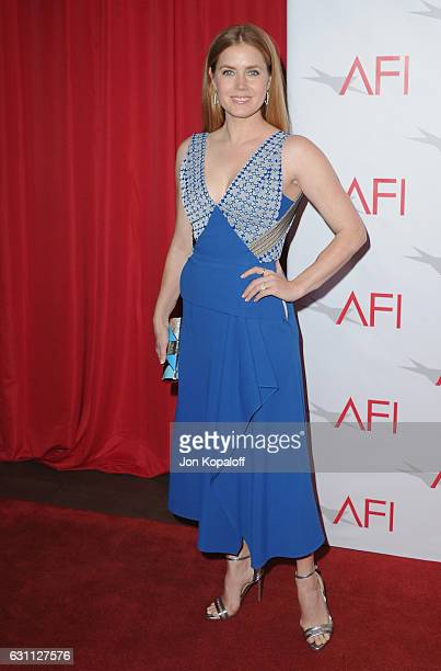 Actress Amy Adams arrives at the 17th Annual AFI Awards at Four Seasons Hotel Los Angeles at Beverly Hills on January 6, 2017 in Los Angeles,...