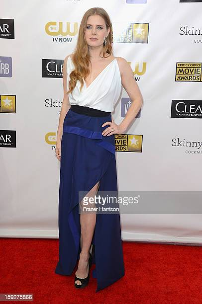 Actress Amy Adams arrives at the 18th Annual Critics' Choice Movie Awards at Barker Hangar on January 10 2013 in Santa Monica California