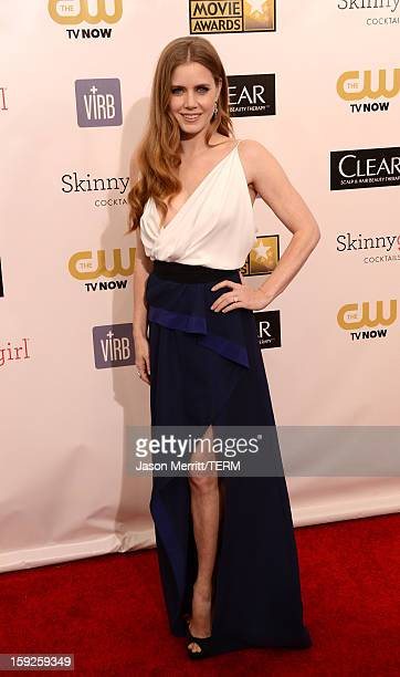 Actress Amy Adams arrives at the 18th Annual Critics' Choice Movie Awards held at Barker Hangar on January 10 2013 in Santa Monica California