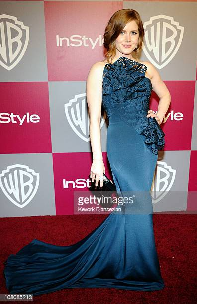 Actress Amy Adams arrives at the 2011 InStyle And Warner Bros 68th Annual Golden Globe Awards postparty held at The Beverly Hilton hotel on January...