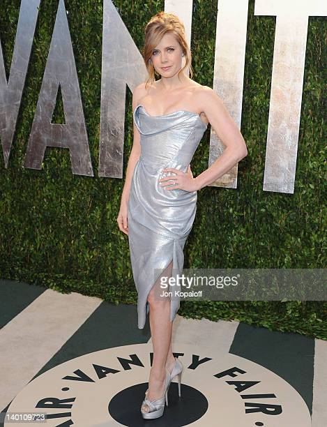 Actress Amy Adams arrives at the 2012 Vanity Fair Oscar Party at Sunset Tower on February 26 2012 in West Hollywood California