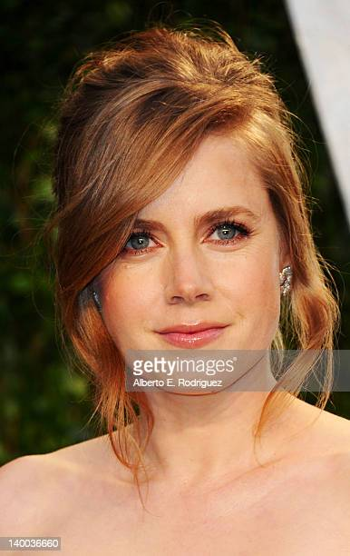 Actress Amy Adams arrives at the 2012 Vanity Fair Oscar Party hosted by Graydon Carter at Sunset Tower on February 26 2012 in West Hollywood...