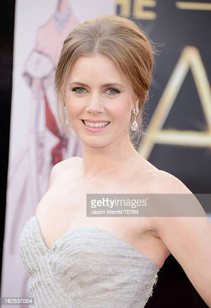 Actress Amy Adams arrives at the Oscars at Hollywood Highland Center on February 24 2013 in Hollywood California