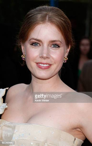 Actress Amy Adams arrives on the red carpet of the Los Angeles Premiere of Tropic Thunder at the Mann's Village Theater on August 11 2008 in Los...