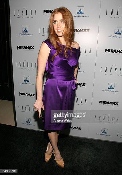 Actress Amy Adams arrives to the Disney and Miramax Oscar Nominees Celebration held at The London Hotel on February 21 2009 in West Hollywood...