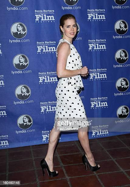 Actress Amy Adams attends the 28th Santa Barbara Film Festival Cinema Vanguard award ceremony at the Arlington Theatre on January 31 2013 in Santa...