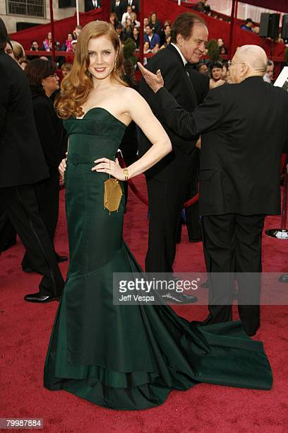 Actress Amy Adams attends the 80th Annual Academy Awards at the Kodak Theatre on February 24 2008 in Los Angeles California