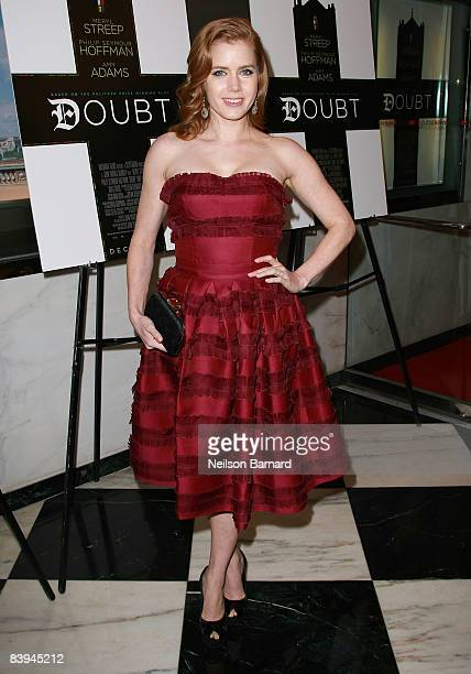 Actress Amy Adams attends the premiere of 'Doubt' at the Paris Theater on December 7 2008 in New York City