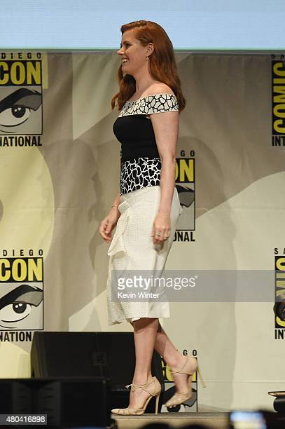 "Actress Amy Adams from ""Batman v. Superman: Dawn of Justice"" walks onstage at the Warner Bros. Presentation during Comic-Con International 2015 at..."
