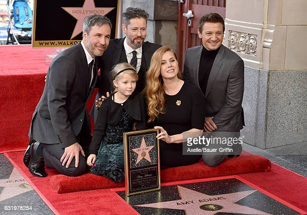 Actress Amy Adams husband Darren Le Gallo daughter Aviana Olea Le Gallo and actors Jeremy Renner and Denis Villeneuve attend the ceremony honoring...