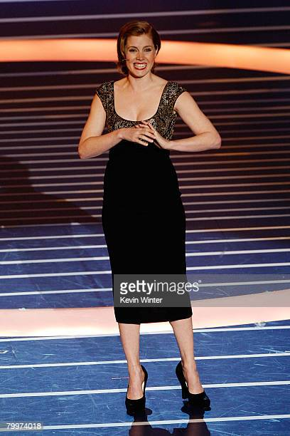 TELECAST*** Actress Amy Adams performs a song from Enchanted during the 80th Annual Academy Awards held at the Kodak Theatre on February 24 2008 in...